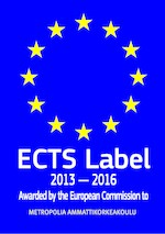 ECTS Label 2013-2016. Awarded by the European Commission to Metropolia Ammattikorkeakoulu.