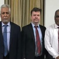 In the picture from the left University of Colombo's Vice Chancellor Lakshman Dissanayake, Jari Olli, Metropolia's Head of School of Smart and Clean Solutions and J.K.D.S. Jayanetti, Dean of the Faculty of Technology in University of Colombo.